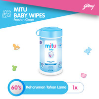 Mitu Baby Wipes Fresh n Clean Blue [Bottle 60'S]