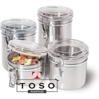 Set Canister Jar 4 Toples Stainless Hermetico Tutup Berpengait / Kait