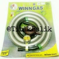 Regulator Winn Gas W 18 M - Selang Paket Fleksible 2 Klem Panjang 1.8
