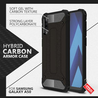 Armor Case Samsung A50 Soft Softcase Hard Hardcase Casing Cover Carbon