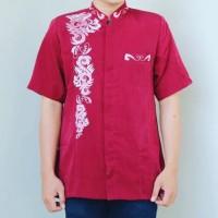 Baju Jasko Merah Lengan Pendek Bordir Modern Kekinian Gratis Ongkir