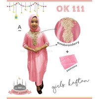Baju Muslim Anak Kaftan Bordir Bonus Pasmina Pink