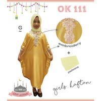 Baju Muslim Anak Kaftan Bordir Bonus Pashmina Kuning