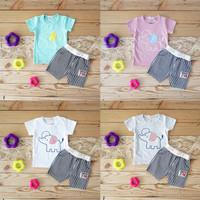 Setelan Baju Anak Import Laki Laki Cowok Kaos Lengan Celana Pendek