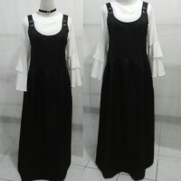 Overall longdress hitam + Blus putih