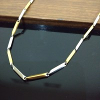 Rantai Kalung Stainless Steel Padi Kombinasi Gold Silver