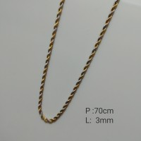 Rantai Kalung Stainless Steel Tambang Kombinasi Gold Dengan Silver