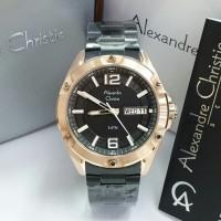JAM TANGAN PRIA ALEXANDRE CHRISTIE AC 6518 BLACK ROSEGOLD ORIGINAL