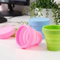 Promo Gelas Mug Plastik Portable Bisa Di Lipat Warna-Warni Polos -