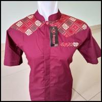 New Kemeja / Baju Koko Muslim Couple Ayah Anak - Merah Kombinasi Batik