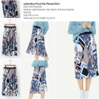 25899 Blue Floral Mix Pleated Skirt