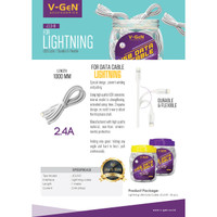 Kabel Data Lightning V-GeN JCL3-01 Kabel iPhone 2.4A (1Toples@35pcs)