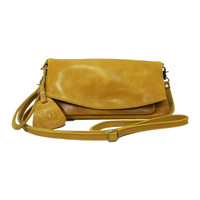 Sling and Clutch Pullup Julia Yellow - Kenes Leather