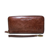 Dompet Kulit Rits Darkbrown Pull Up - Kenes Leather