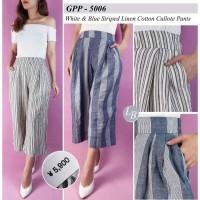 (A2)Gap white & blue strip linen cotton cullote pants