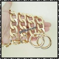 1Mtr Rantai Tas Premium Emas Muda Oval Gepeng Aluminium 20x28mm+Ring