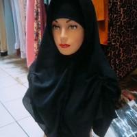 Jilbab instan warna hitam polos termurah