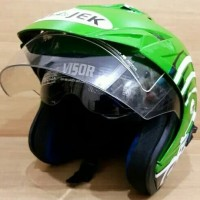 Helm Double Visor SNI GO-JEK Warna Hijau Muda Setara INK KYT BMC