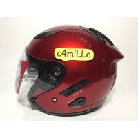 83551025 HELM KYT GALAXY SLIDE RED MAROON DOUBLE VISOR HALF FACE