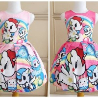 BAJUKIDDIE TOKI DOKI UNICORN RAINBOW . dress anak pesta gaun unicorn