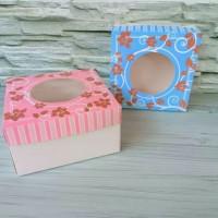 10 CAKE BOX DUS KUE TART IVORY BUNGA PINK / BIRU 28X28X12CM / IV282812