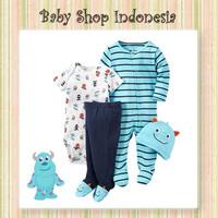 Set Baju Bayi Newborn Murah Setelan Jumpsuit Bayi Laki-laki Light Blue