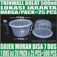 Thinwall 500 ml Plastik 25 pcs Bowl Mangkok Bubur Tempat Salad Bakmie