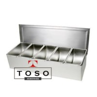Full Stainless Condiment Compartment 5 Tempat Bumbu Topping Sekat 5