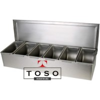 Full Stainless Condiment Compartment 6 Tempat Bumbu Topping Sekat 6
