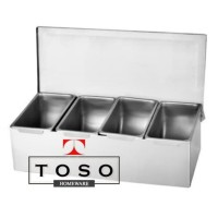 Full Stainless Condiment Compartment 4 Tempat Bumbu Topping Sekat 4