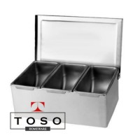 Full Stainless Condiment Compartment 3 Tempat Bumbu Topping Sekat 3
