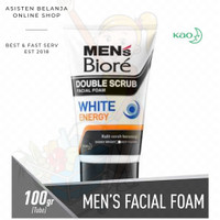 Men's BIORE White Energy Double Scrub Facial Foam 100g Sabun Cuci Muka