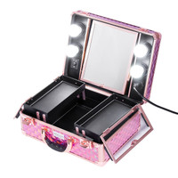 Sonia Miller Beauty Makeup Case Koper Cosmetic Box Lampu 4LED holopink thumbnail