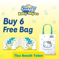 6 Pack Sweety Baby Wipes Telon Free Shopping Bag