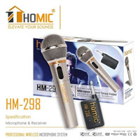 Mic/Microphone Single Wireless dan Kabel HOMIC HM-298x Besi