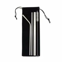 SET 5 IN 1 Sedotan Stainless Straw Reusable Sedotan Ramah Lingkungan B