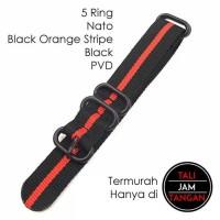 18mm Zulu Strap Black Orange Tali Jam Tangan Nylon Zulu