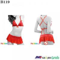B119 - Bikini Skirt Tali Silang Merah