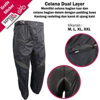 Celana Sepeda Komprang Panjang 2in1 Dual Layer Padding Busa Abu