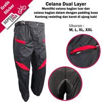 Celana Sepeda Komprang Panjang 2in1 Dual Layer Padding Busa Merah