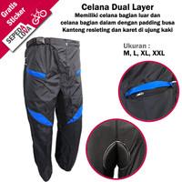 Celana Sepeda Komprang Panjang 2in1 Dual Layer Padding Busa Biru