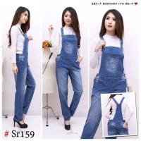 Real Picture Overall Jumpsuit Celana Kodok Jeans Big Size Jumbo 104