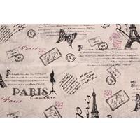 Natural Linen Fabric - Kain Linen Impor Motif Paris