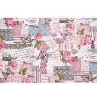 Natural Linen Fabric - Kain Linen Impor Motif Carte Post