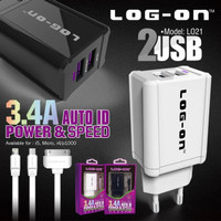 Charger Android 3.4A LOG-ON 2PORT FAST CHARGING 55 Menit FULL