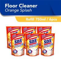 SOS Pembersih Lantai Orange Splash Jingga Refill [750 ML/6pcs]