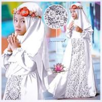 7159 stelan baju muslim anak putih gamis putih anak cewek 6 tahun 7155