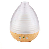 USB Wood Grain Transparant Oil Diffuser Aromatherapy LED Light - 235ML