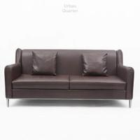 Pauley Leather Three-Seater Sofa
