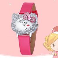 Jam Tangan Quartz Wanita Motif Kartun Hello Kitty dengan Strap Kulit